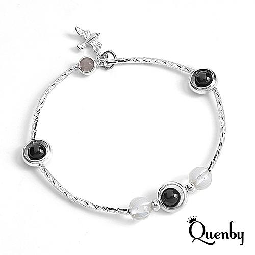 Quenby 甜美魅力好搭風人造粉晶手鍊/手環-E