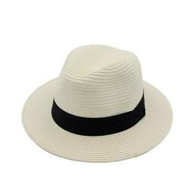 BOBIDYEE 広いつばわらパナマ帽子フェドラビーチ日帽子夏屋外日焼け防止ワイド帽子幼児日帽子帽子ファッショナブルな帽子 (色 : Creamy-white, サイズ : Adjustable)