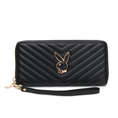 PLAYBOY-  ㄇ拉長夾附手挽帶 摩登小兔系列 -黑色