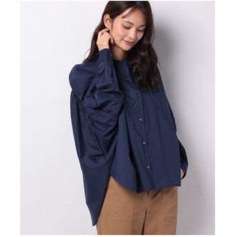 MARcourt 【mizuiro ind】back gatherd wide shirt(NAVY)
