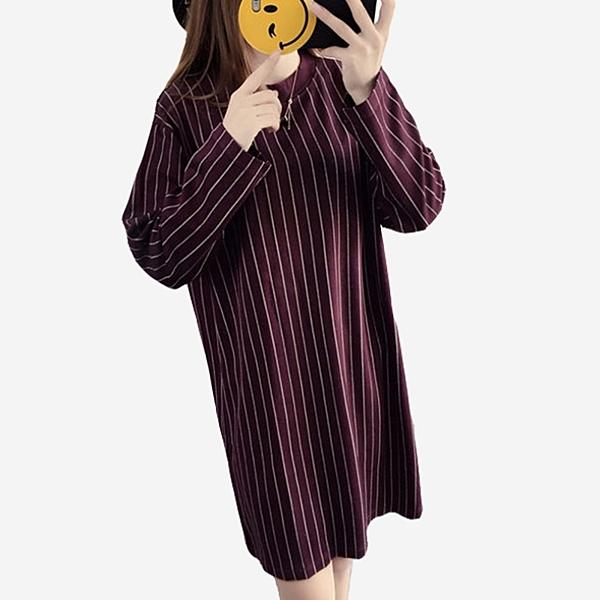 休閒直條紋圓領長袖及膝洋裝 (黑 灰 棗紅)三色售 11852039
