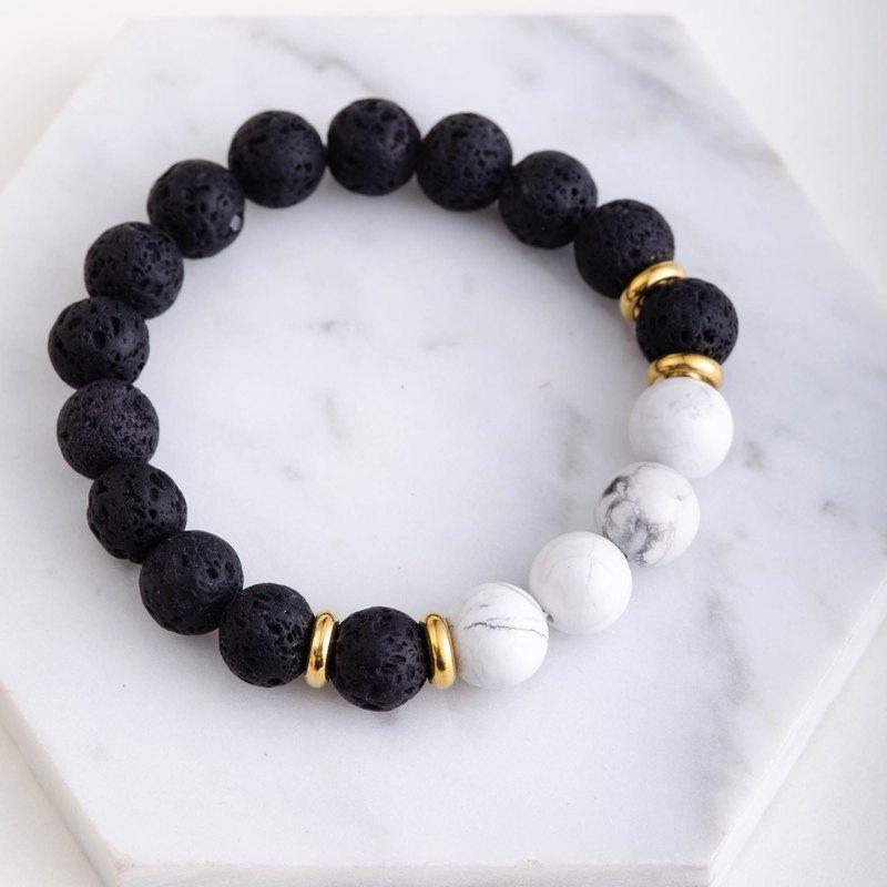白松石|火山石|黃銅手鍊 |白松石|天然水晶設計手鏈 |客製化禮物|