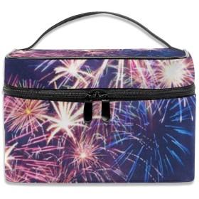 花火と雲柄 化粧ポーチ 化粧品バッグ 化粧品収納バッグ 収納バッグ 防水ウォッシュバッグ ポータブル 持ち運び便利 大容量 軽量 ユニセックス 旅行する