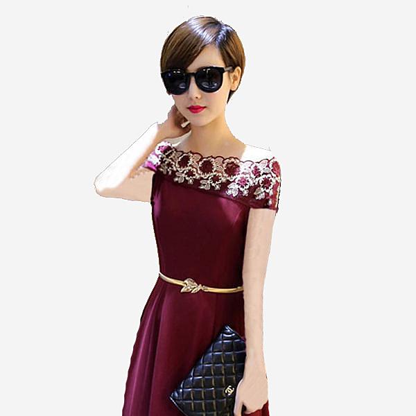 一字領雙色蕾絲鏤空短袖洋裝禮服   [黑 酒紅] 兩色售