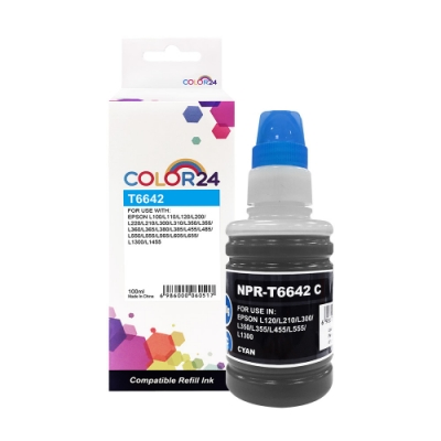 【Color24】for Epson T664200 藍色相容連供墨水(100ml)/適用 L100/L110/L120/L200/L220/L210/L300/L310/L350/L355/L360