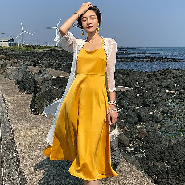 清倉388 韓國風純色長版收腰顯瘦細肩帶無袖洋裝