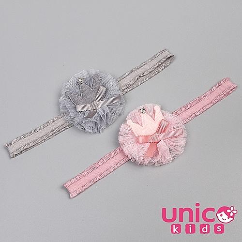 UNICO 兒童甜美網紗皇冠造型髮帶-2入組