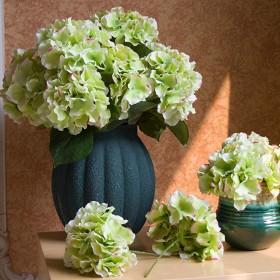 人工アジサイの花、3個ブライダルウェディングブーケ、ホームガーデンパーティーオフィスデコレーション、フラワーアレンジメント、センターピース用,グリーン