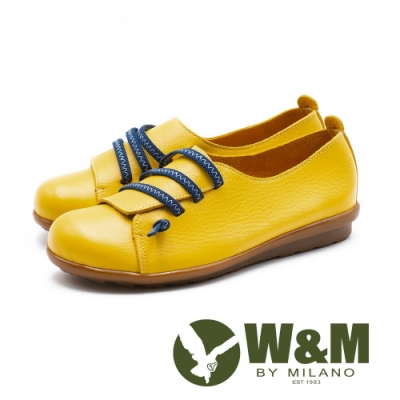W&M 童趣撞色 圓頭娃娃休閒鞋 女鞋-薑黃(另有紅、深藍)