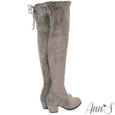 Ann'S 正常版 名模後蝴蝶結側拉鍊貼腿過膝靴
