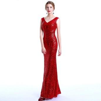 イブニングドレス女性のノースリーブVネックスパンコールのイブニングドレスカクテルパーティーの長いセクション (Color : Red, Size : 4)