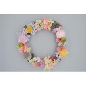 小花のリース:ドライフラワー・プリザーブドフラワー・プレゼント・誕生日・ウエディング・新築祝い