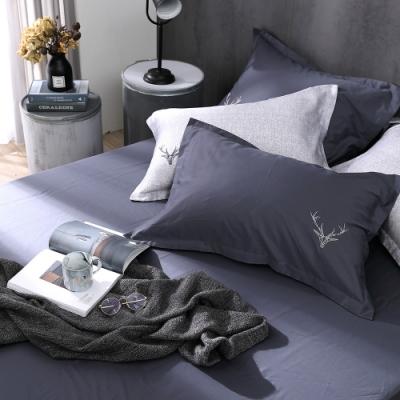 OLIVIA  Saul 鐵灰 標準雙人床包歐式枕套三件組 300織匹馬棉系列 台灣製