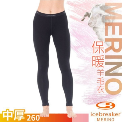 Icebreaker 女新款 260 Tech 美麗諾羊毛中厚款保暖貼身長褲_黑