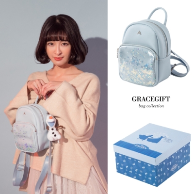 Disney collection by gracegift-冰雪奇緣透明後背包 藍