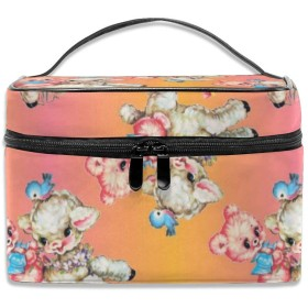 可愛いくまと羊 化粧ポーチ 化粧品バッグ 化粧品収納バッグ 収納バッグ 防水ウォッシュバッグ ポータブル 持ち運び便利 大容量 軽量 ユニセックス 旅行する