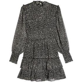 《セール開催中》TOPSHOP レディース ミニワンピース&ドレス ブラック 8 ポリエステル 100% ANIMAL PRINT RUFLLE SHIRRED MINI DRESS