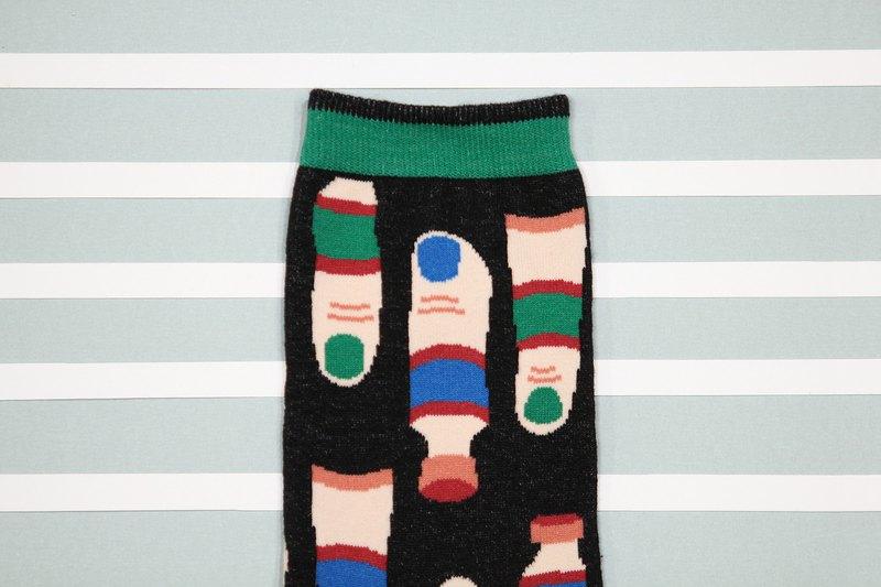 手指水彩 棉質中筒襪 - 襪子 -  黑