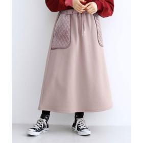 メルロー merlot キルティングポケットAラインスカート (ピンク)