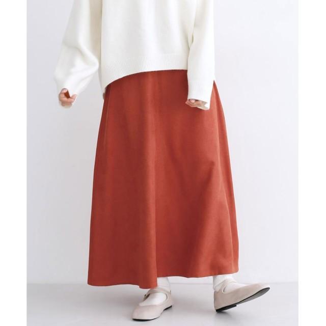 メルロー merlot スウェードタッチフレアロングスカート (オレンジ)