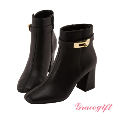 Grace gift  X Wei 聯名方頭鎖釦高跟短靴