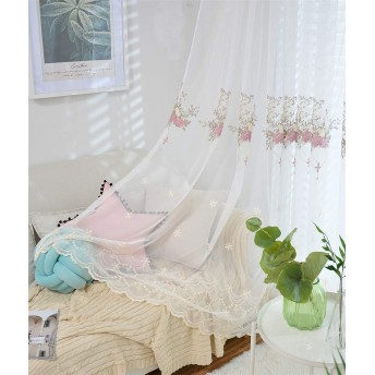 WPKIRA カーテン透けない uvカット 花刺繍カーテン セミシェーディング、洗える、部屋を飾るための良い選択 自然に 換気高い人気の薄いカーテン 1組2枚入 フックを送る カーテン 幅150cm×丈178cm