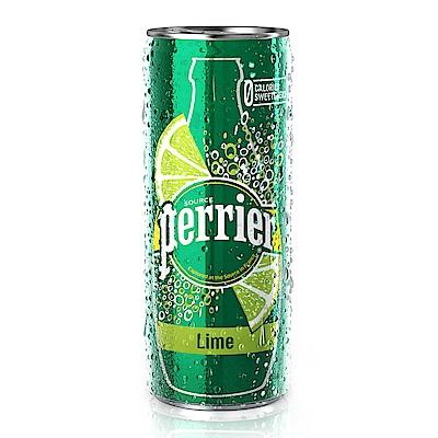 (活動) 法國沛綠雅Perrier 氣泡天然礦泉水-萊姆風味 鋁罐 (250mlX30入)
