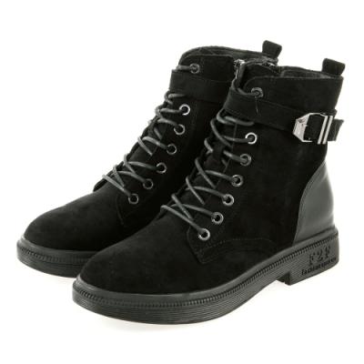 JMS-帥氣軍風裝飾扣帶拉鍊綁帶短靴-黑色