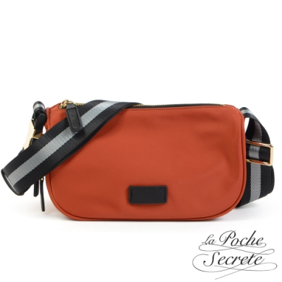 La Poche Secrete斜背包 輕盈時尚漾彩撞色織帶尼龍側斜背包-楓紅橘