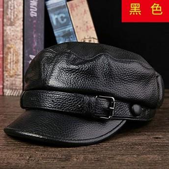 HVTKLN 中年男性の革靴の革の帽子韓流秋と冬の日の若い学生フラットトップキャップベン HVTKLN (Color : Black (head layer cowhide)), Size : L)