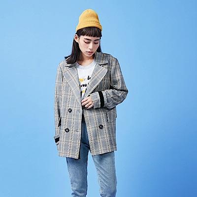 gozo 背塗鴉袖口造型格紋大衣(灰色)