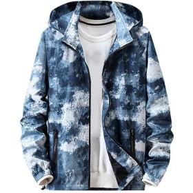 Aster JaKi メンズ ジャケット 両面着 おしゃれ カラフル ブルゾン 長袖 フード付き 春秋 防風 ファッション ジャンパー カジュアル 大きいサイズ M~7XL