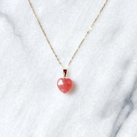 K18 宝石インカローズA5ランク!自分を愛し薔薇色の人生へ導くハートネックレス