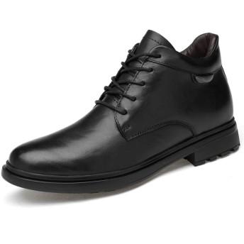 [SJXIN-Mens Boots] 冬のメンズブーツ、メンズアンクルブーツカジュアルファッションの新しいハイエンドレザーハイトップラウンドトゥ作業靴をレーシング(コットンウォームオプション) (Color : ブラック, サイズ : 22.5 CM)
