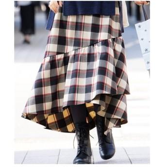 スカート ロング丈 マキシ丈 大きいサイズ レディース チェックティアードフレア  ウエスト73/76/80cm ニッセン