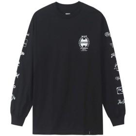 HUF ハフ ロングtシャツ 長袖 THE END メンズ レディース スケーター オールドスクール ロック パンク ファッション ブラック (L)