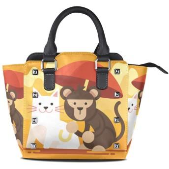 猫猿キティ女性の女の子のためのハンドバッグ女性クロスボディバッグ革サッチェル財布メイクトートバッグ
