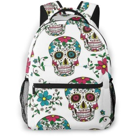 Colorful Sugar Skull カメラリュック スタイリッシュな 多機能 カジュアルデイパック ポリエステル 通勤/通学/出張/旅行などに適用 メンズ女性