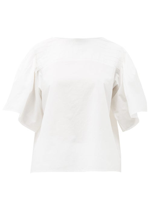 Merlette - Canova Pleated Cotton-poplin Top - Womens - White