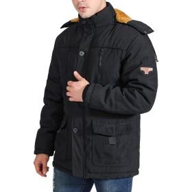 Gmardar 中綿ジャケット フード付き 脱着可能 ファー付き 裏ボア 中綿 コットン カジュアル 通勤 防寒 厚手 無地 秋 冬 シンプル メンズ コート ジャケット アウター トップス ブルゾン (XL, ブラック)