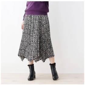 【グローブ/grove】 小花柄イレギュラーヘムプリーツスカート