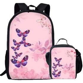 Dshzxc Custom backpack butterfly pattern backpack pink