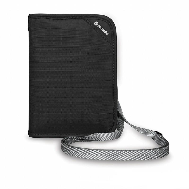 Pacsafe RFIDSAFE V150 防盜頸掛式護照皮夾 黑色(PF10561-BLK)