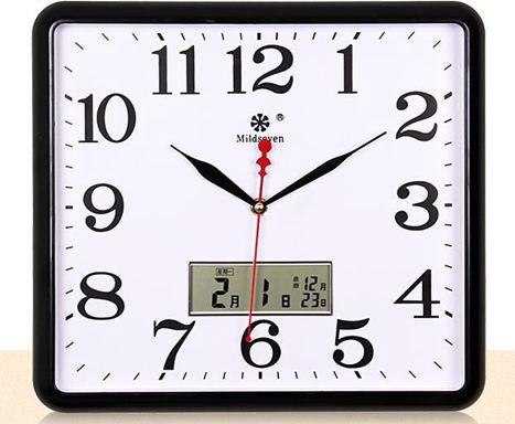 掛鐘 七王星方形電子掛鐘客廳靜音鐘錶家庭創意時尚藝術萬年日歷石英鐘