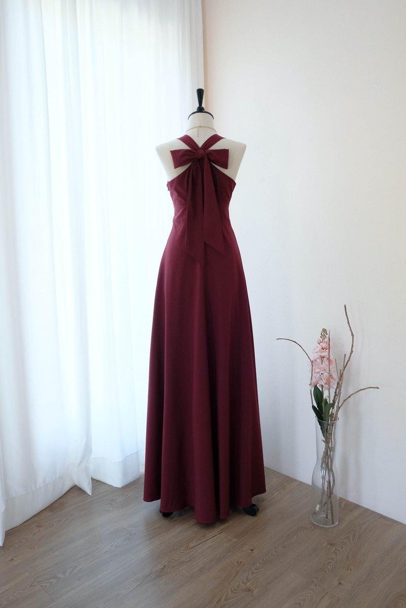 酒紅色伴娘禮服長裙雞尾酒派對禮服地板長度
