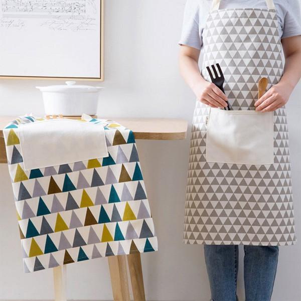 日式棉麻彩灰三角型口袋圍裙 廚房圍裙【JH1247】《Jami》