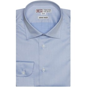 ブリックハウス ワイシャツ 長袖 形態安定 セミワイド 綿100% スリム PM019001CA10W40-10 ブルー S-80