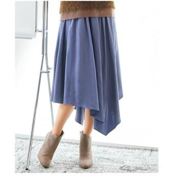 スカート ひざ丈 大きいサイズ レディース アシメフレア  L/LL/3L ニッセン