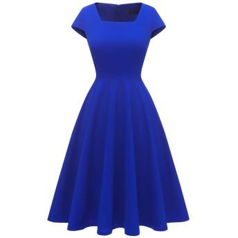 Dresstell(ドレステル) ワンピース レディース レトロ Aライン フレアワンピース 半袖 スクエアネック ひざ丈 ドレス パーティー お呼ばれ 無地 ロイヤルブルー XSサイズ
