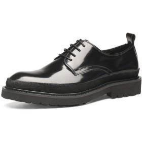メンズダービーシューズ、レザーペイント表面レースアップフラット丸いつま先フォーマルシューズビジネスシューズドレス紳士の靴オフィスシュ